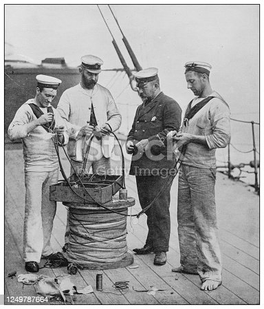 Antique photograph of British Navy and Army: Electrical Artificers