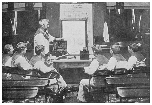Antique photograph of British Navy and Army: Explaining telephone