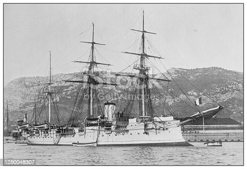 Antique photograph of British Navy and Army: French cruiser