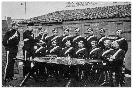 Antique photograph of British Navy and Army: Instructions in scouting, West Somerset Yeomanry