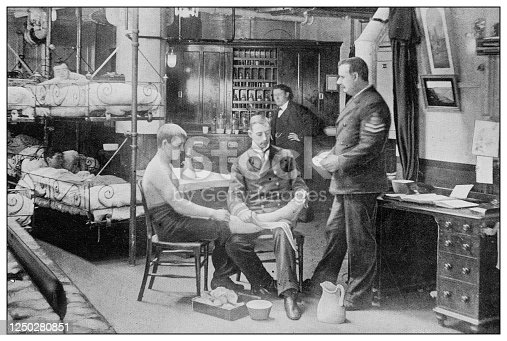 Antique photograph of British Navy and Army: Medical visit on battleship