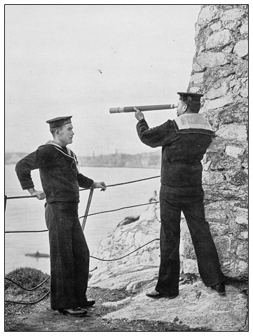 Antique photograph of British Navy and Army: On duty