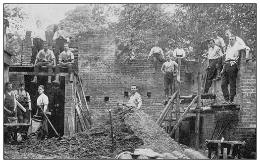 Antique photograph of British Navy and Army: Royal Military college, Builders
