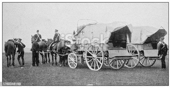 Antique photograph of British Navy and Army: The soldiers' brougham