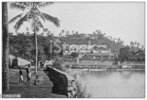 Antique photograph of British Navy and Army: Water tank, Bombay