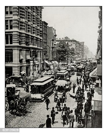 Antique photograph of Broadway, New York