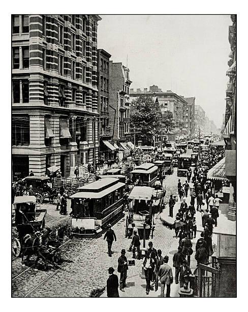 Antique photograph of Broadway, New York - foto de acervo