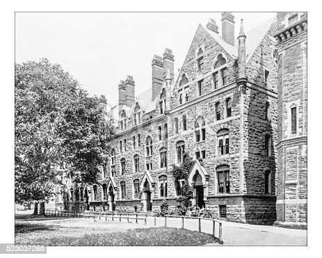 Antique photograph of a building of Yale College, as it was called then the American university before 1887. A typical Collegiate Gothic edifice (Berkeley college?).
