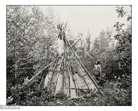 Antique photograph of burial tepee of chief's wife