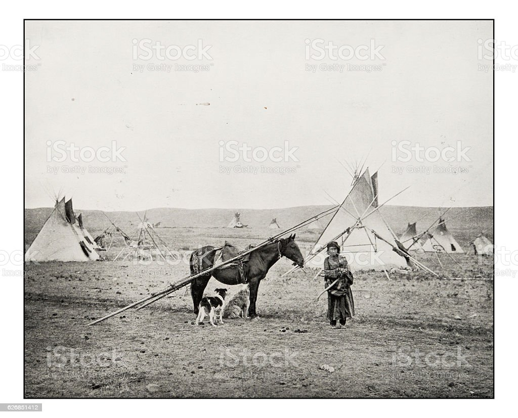 Antique photograph of Canadian natives stock photo
