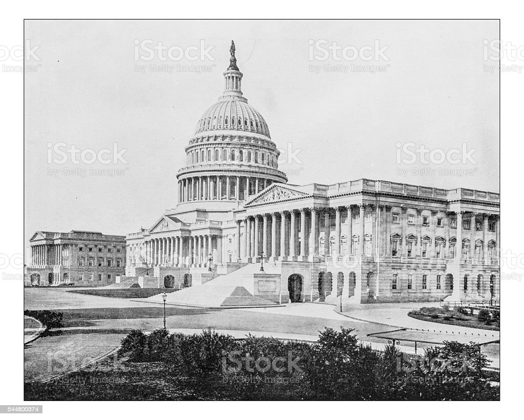 Antique photograph of Capitol Hill (Washington, D.C., USA)-19th century stock photo