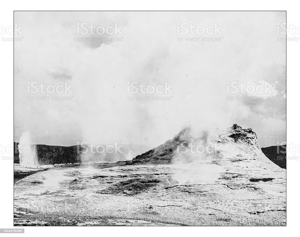 Antique photograph of Castle and Beehive Geyser(Yellowstone,Wyoming,USA)-19th century stock photo