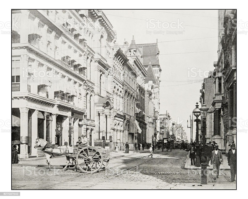 Antique photograph of Chestnut Street, Philadelphia stock photo