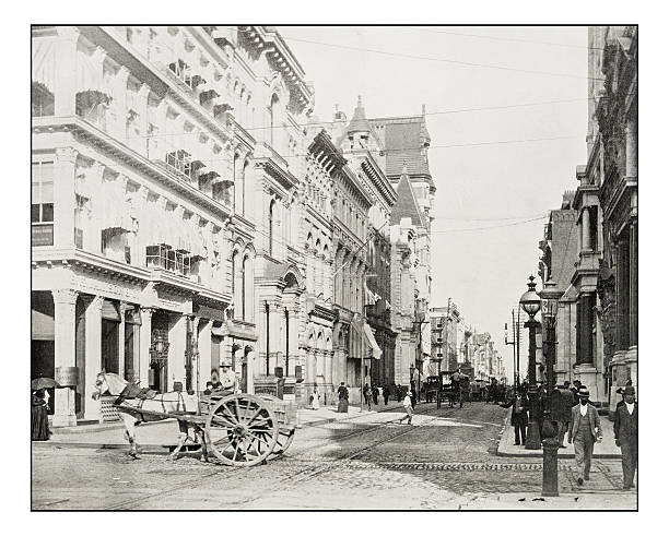 antique photograph of chestnut street, philadelphia - 19. jahrhundert stock-fotos und bilder