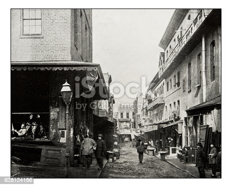 Antique photograph of Chinatown in San Francisco