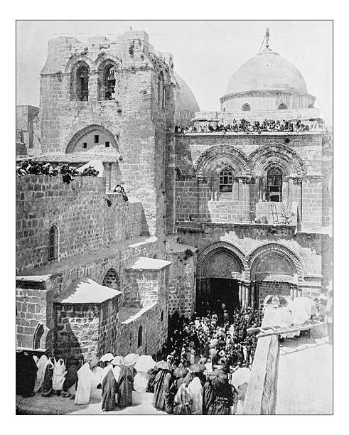 Antique photograph of Church of the Holy Sepulchre(Jerusalem, Israel)-19th century stock photo
