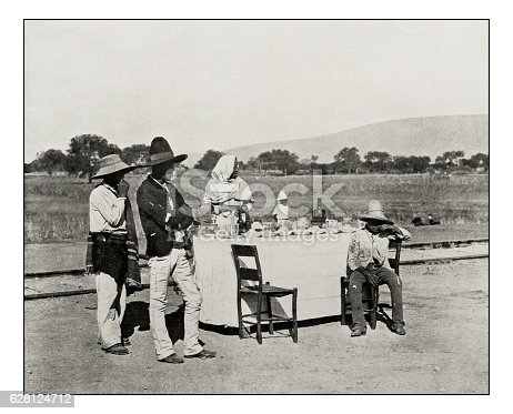 Antique photograph of Coffee stand in Mexico