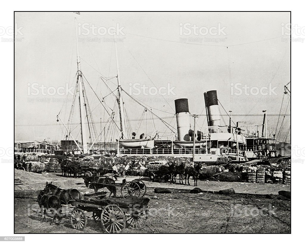 Antique photograph of Cotton steamer in New Orleans stock photo