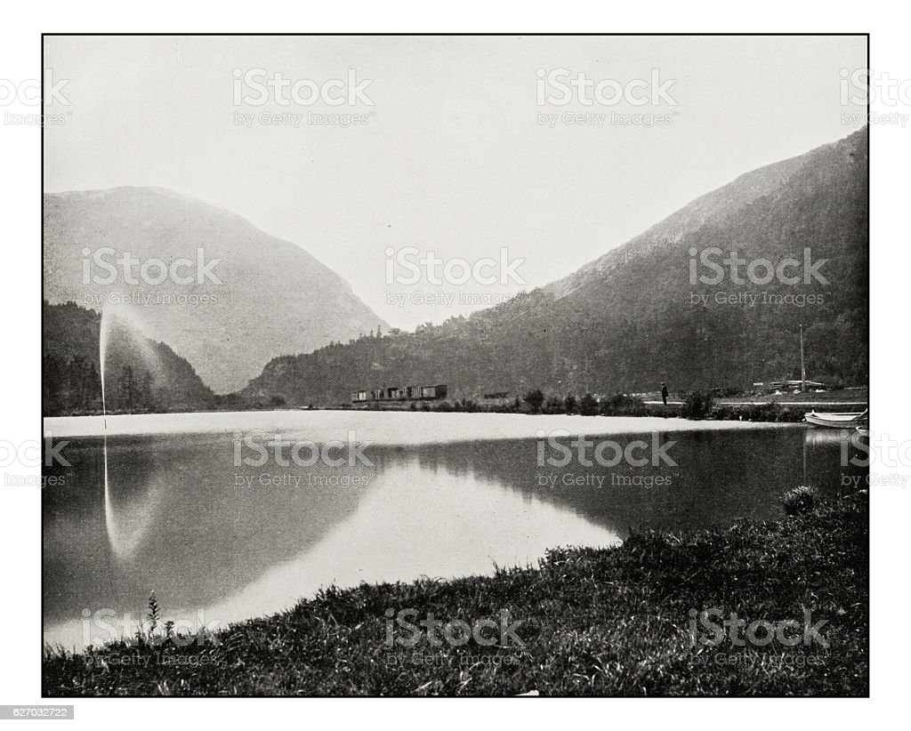 Antique photograph of Crawford Notch in the White Mountains stock photo