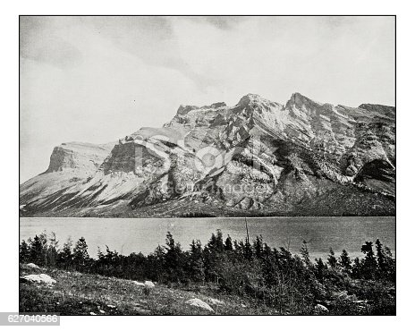 Antique photograph of Devil's lake or Minnewauka, Canadian national park