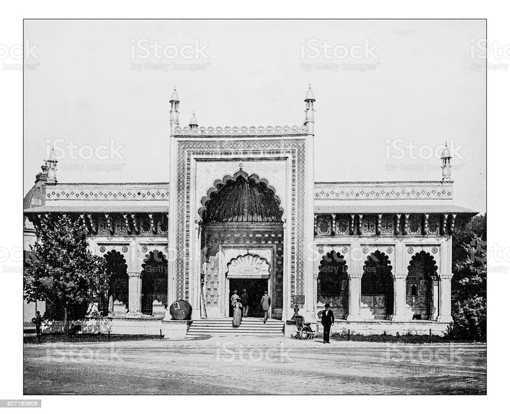 Antique photograph of East Indian style Building - Photo