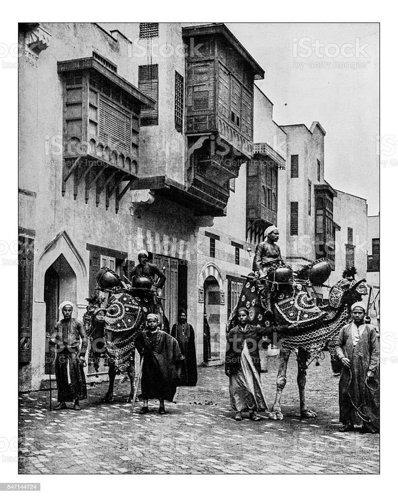 Antique photograph of Egyptian camels and drivers (1893) - Photo