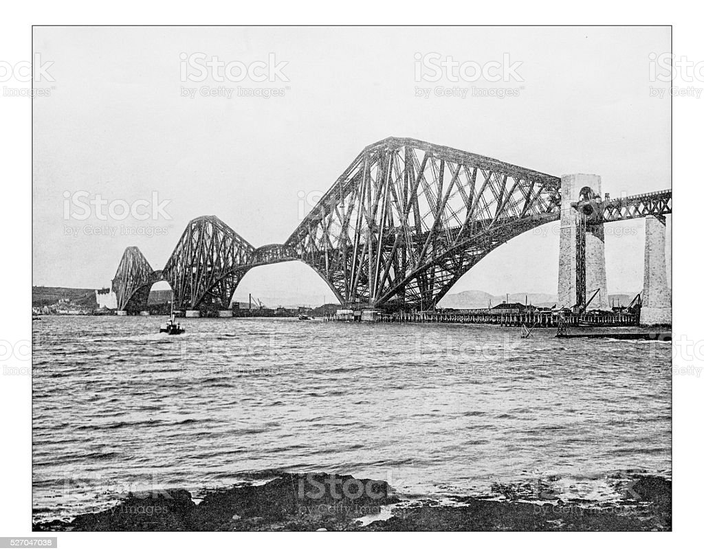 Antique photograph of Forth Bridge over Firth of Forth (Scotland) stock photo