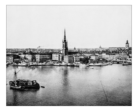 Antique photograph of Gamla Stan-Stockholm (Sweden) -19th century