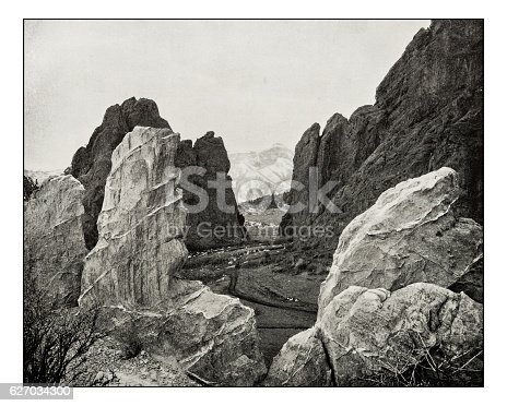Antique photograph of garden of the gods, Colorado