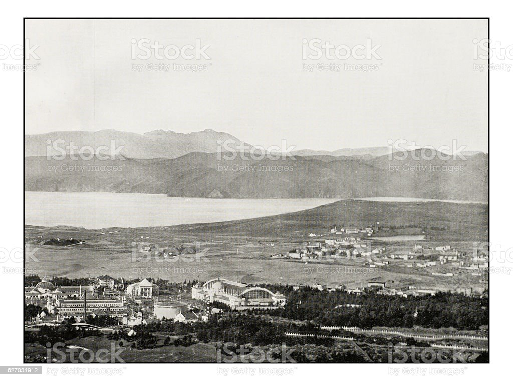 Antique photograph of Golden Gate stock photo