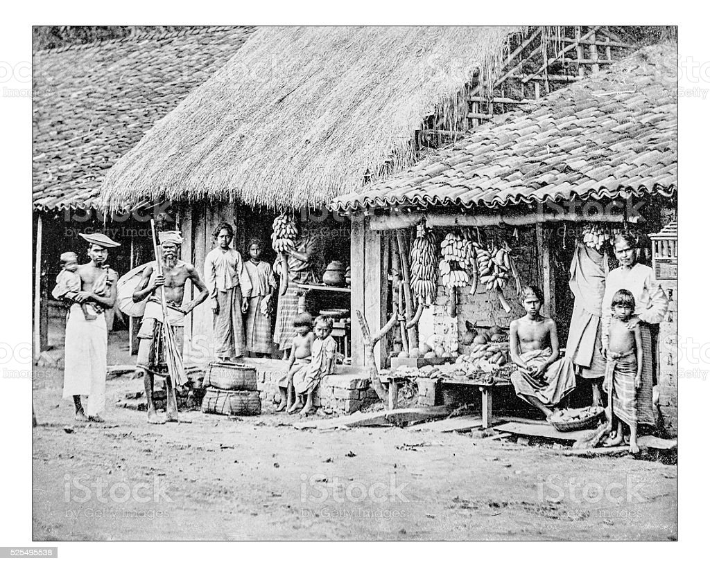 Antique photograph of group of people from Sri Lanka stock photo