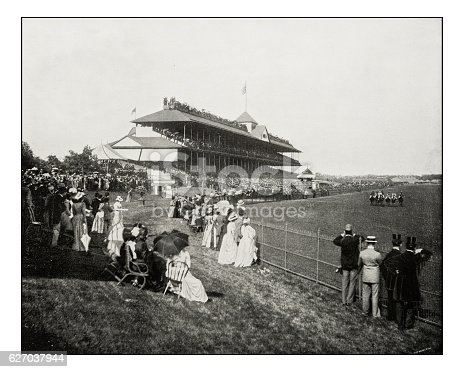 Antique photograph of horserace derby in Chicago