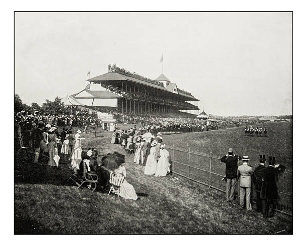 Antique photograph of horserace derby in Chicago stock photo