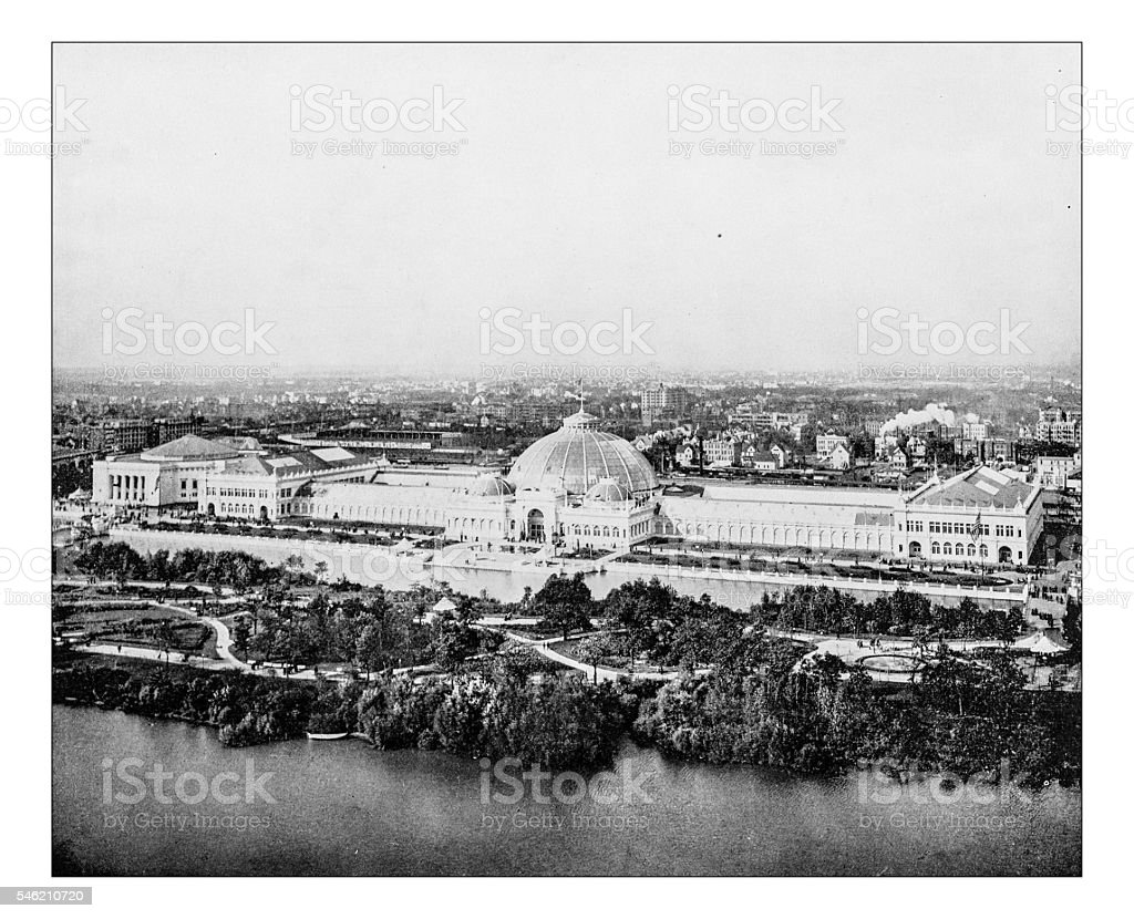 Antique photograph of Horticulture building (World's Columbian Exposition, Chicago,USA)-1893 - Photo