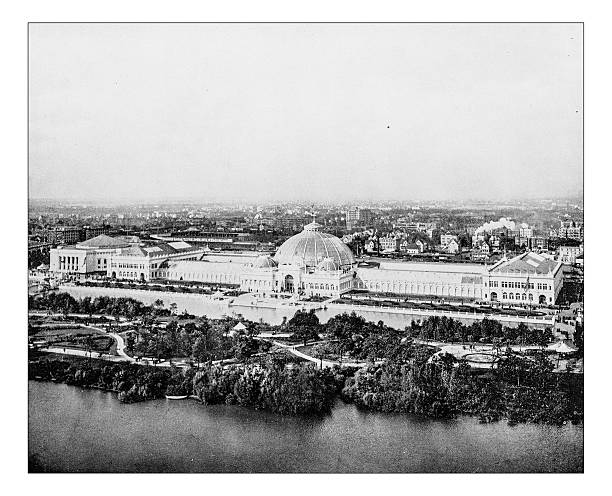 Antique photograph of Horticulture building (World's Columbian Exposition, Chicago,USA)-1893 stock photo
