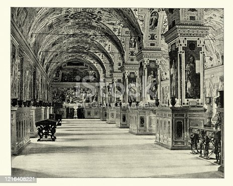Antique photograph of in the Vatican library, Rome, 19th Century