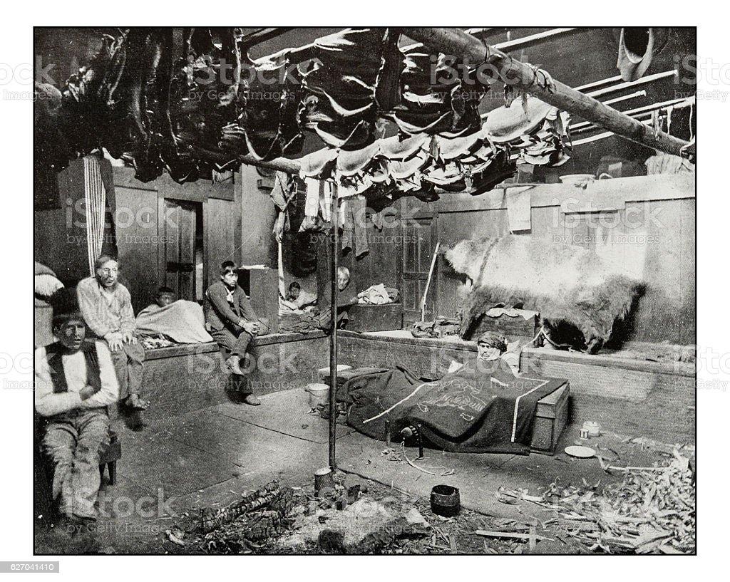Antique photograph of indian hut, Yakutat Bay, Alaska stock photo