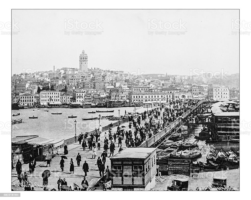 Antique photograph of Istanbul and Bosphorus bridge (Turkey,19th century) stock photo