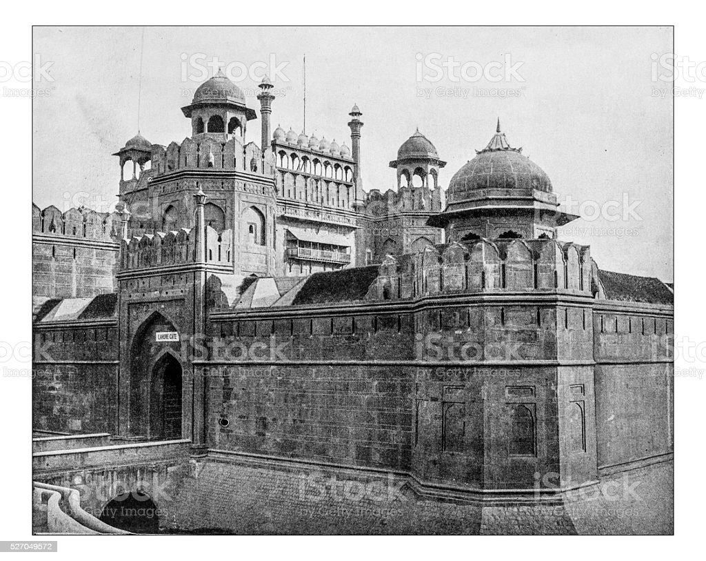 Antique photograph of Lahore gate - Red Fort (Delhi, India) stock photo
