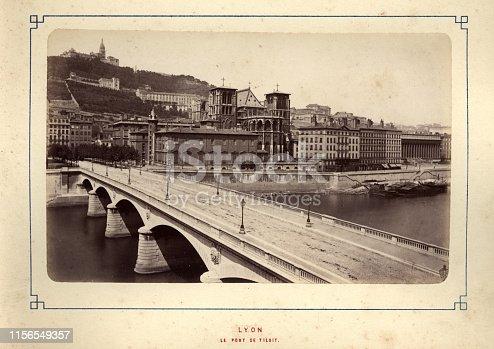 Antique photograph of Le Pont de Tilsitt, Lyon, 19th Century