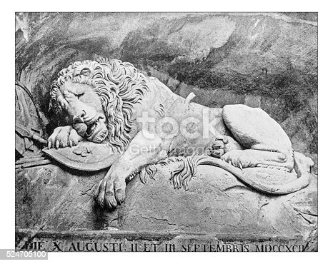 Antique photograph of the Lion Monument or Lion of Lucerne, a 19th century rock relief in Lucerne, Switzerland, Bertel Thorvaldsen (design) and Lukas Ahorn. It's a big (10 x 6 metres) tribute to the alomost eight hundred Swiss Guards slaughtered  during the French Revolution. It depicts a mortally-wounded lion, impaled by a spear, covering a shield with fleur-de-lis of French monarchy; next to the lion a second shield features the coat of arms of Switzerland. Below the lion the inscription with the date (10 of August, 1792) of the massacre.