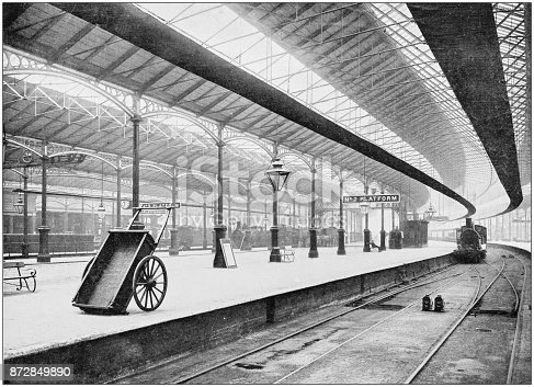 Antique photograph of London: Euston station