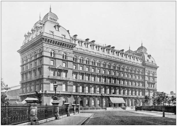 Antique photograph of London: Grosvenor house Antique photograph of London: Grosvenor house mayfair stock pictures, royalty-free photos & images