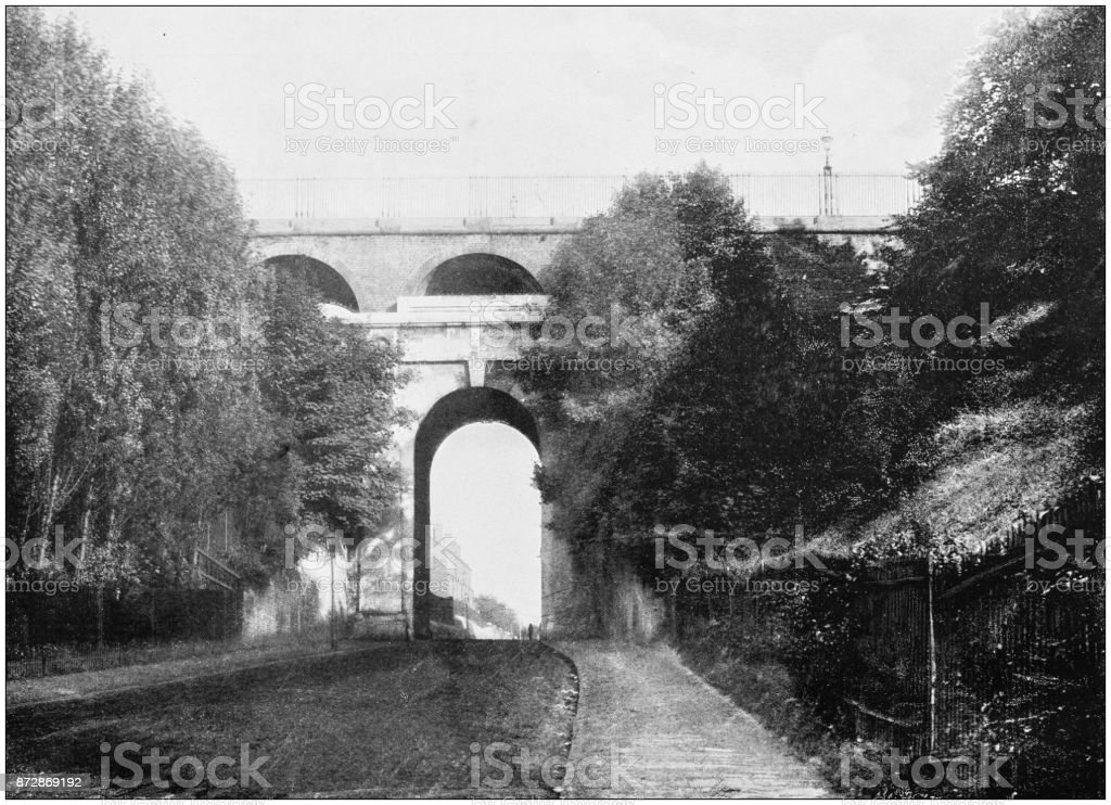 Antique photograph of London: Highgate Archway stock photo