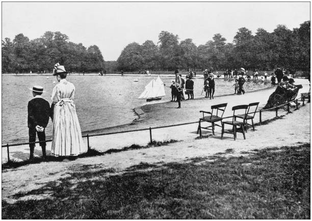 Antique photograph of London: Kensington Gardens Antique photograph of London: Kensington Gardens 1890 stock pictures, royalty-free photos & images