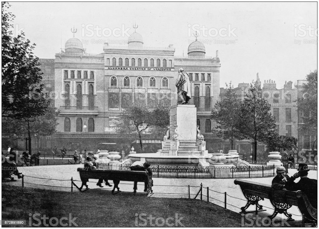 Antique photograph of London: Leicester Square stock photo
