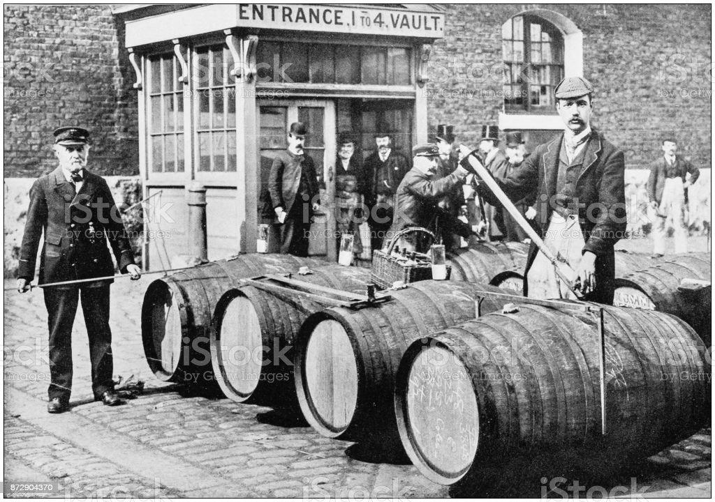 Antique photograph of London: London Docks stock photo