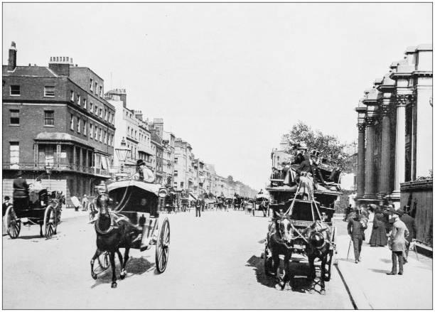 antike fotos von london: oxford street - pferdekutsche stock-fotos und bilder