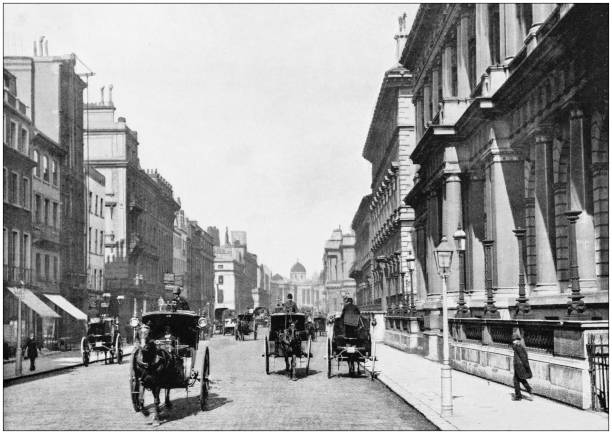 Antique photograph of London: Pall Mall Antique photograph of London: Pall Mall 1890 stock pictures, royalty-free photos & images