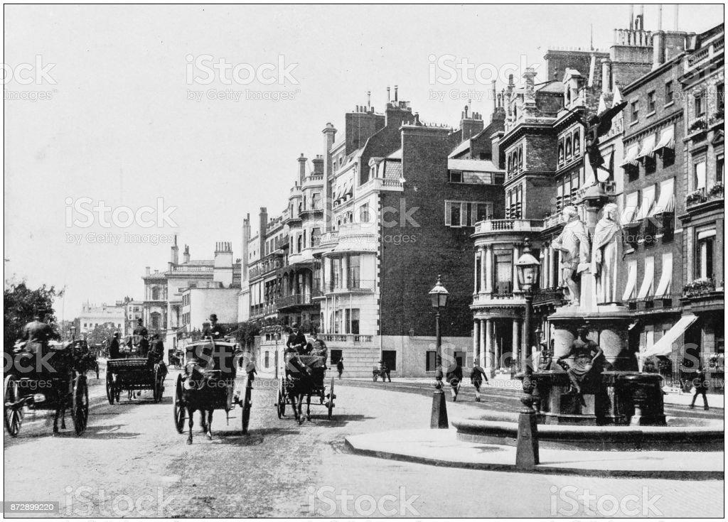 Antique photograph of London: Park Lane stock photo